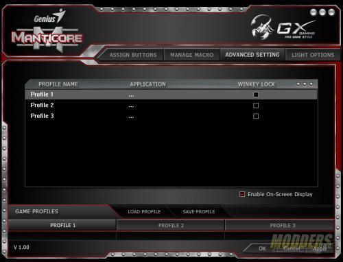 GX Gaming Manticore Software Advanced Settings