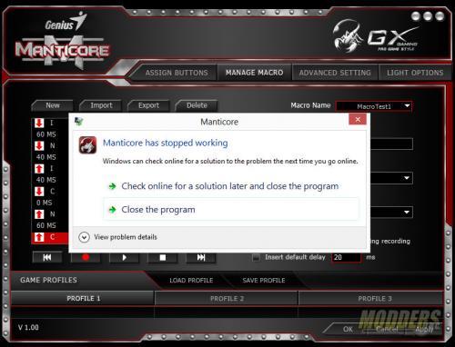 GX Gaming Manticore Software Crash