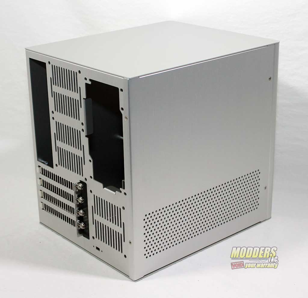 Rosewill Legacy V4-S Silver Aluminum Alloy Mini-ITX Cube Computer Case Rear of Case