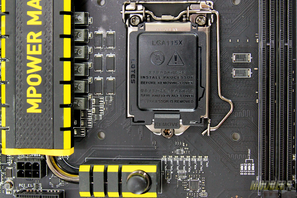 Auxiliary PCIE power, CPU Socket Area with Voltage points at the bottom and IDT 5V49325NLG clock generator