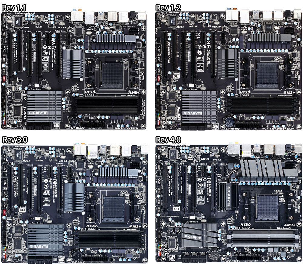 Revision 1.1 through 4.0 of the Gigabyte 990FXA-UD3 motherboard