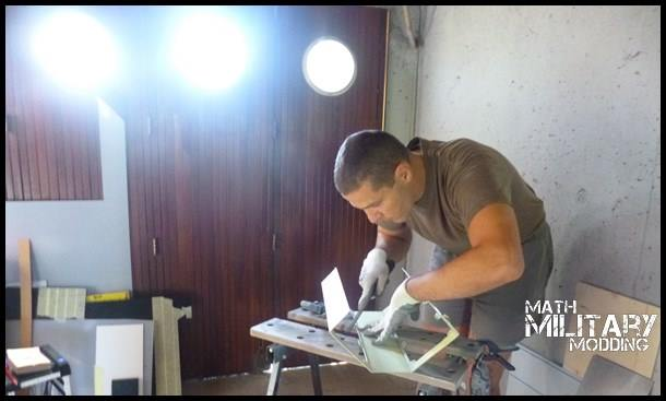 Mathieu at work on the Corsair 760T MARPAT Mod
