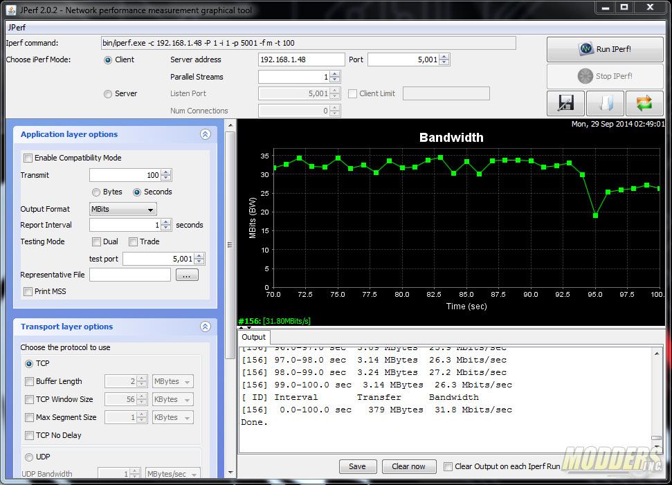 jPerf test Wi-Fi performance