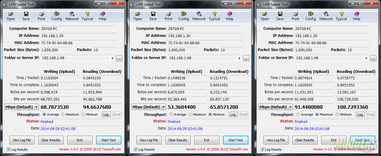 Intel AC2670 2.4GHz Wireless LAN Speed Test