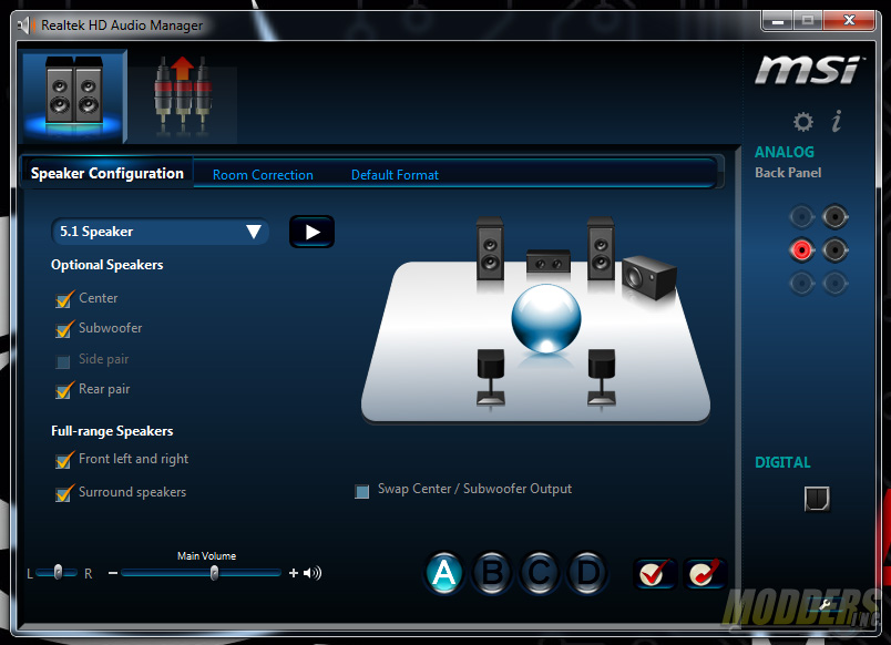 MSI Realtek HD Audio Controls for the Rear Audio Connectors
