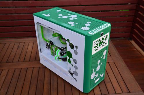 Green Molecule by Alex Ciobanu casemod, EKWB, fractal design 2