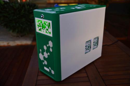 Green Molecule by Alex Ciobanu casemod, EKWB, fractal design 3