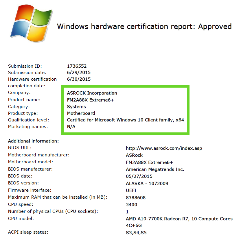 FM2A88X Extreme6+ Windows 10 Approved