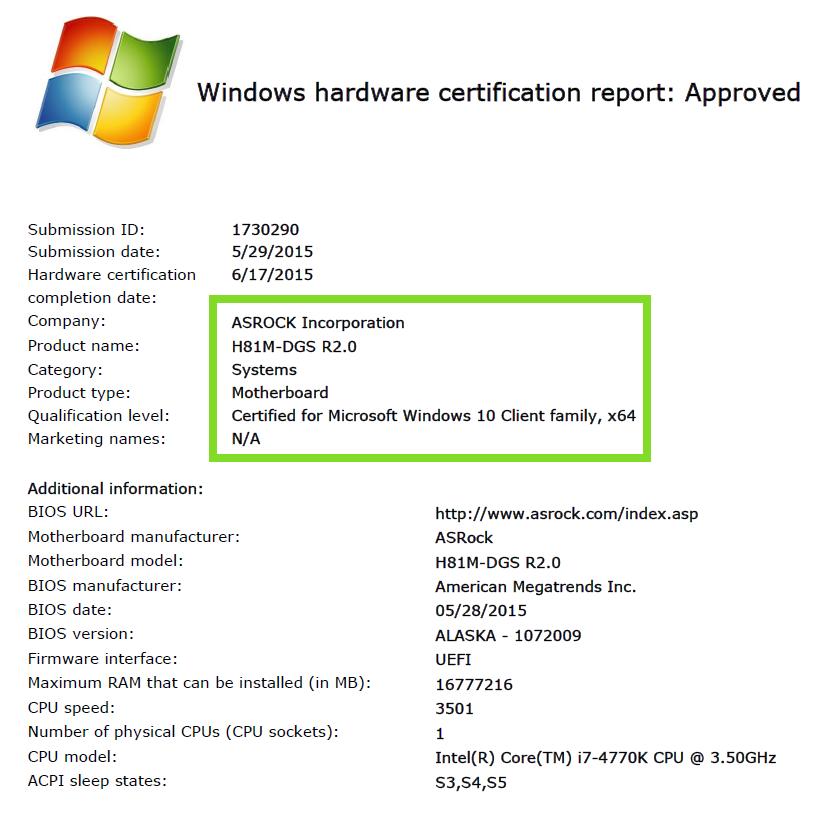 H81M DGS R20 Windows 10 Approved