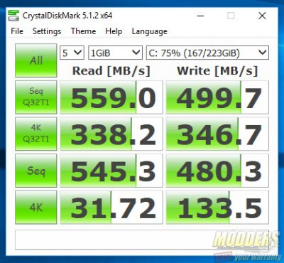 ADATA SP550 75% Full Crystal Disk Mark