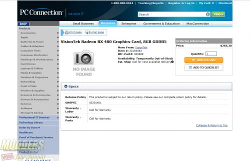 AMD Radeon RX 480 Spotted in NewEgg , Launching June 29 Radeon, rx 480, Video Card, VISIONTEK 1