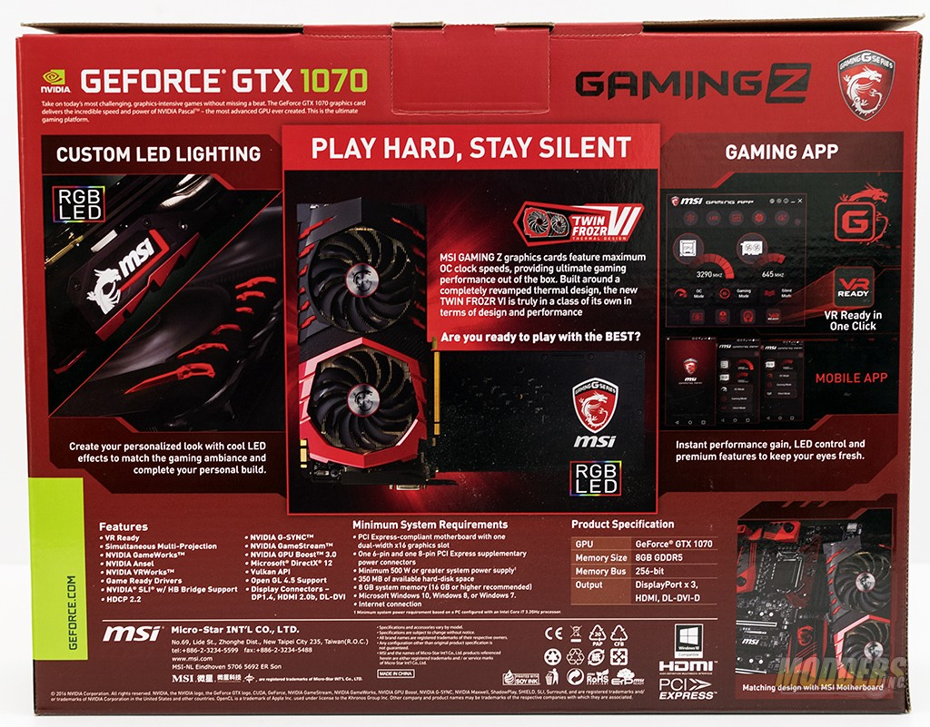 Msi Geforce Gtx 1070 Gaming Z Graphics Card Review Modders Inc X 8g