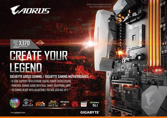 GIGABYTE AORUS Motherboards Announces AM4 Ryzen Support