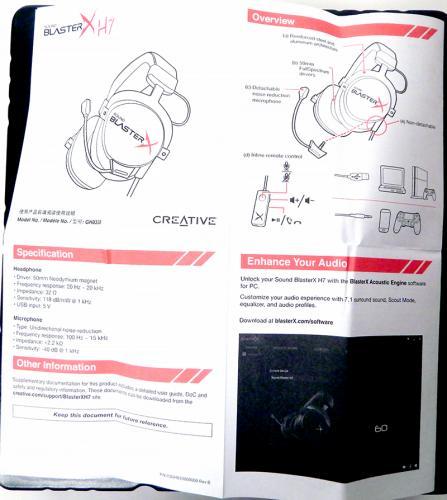 Creative Sound BlasterX Pro-Gaming H7 Tournament Edition Gaming Headset Manual