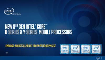 Intel Launches 8th Generation Y and U series Mobile Processors 8th gen, 8th Generation, Intel, Intel U Series, Intel Y Series, laptops, Mobile Processors, U Sereis, Y Series 1