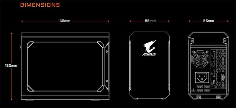GIGABYTE Releases the AORUS RTX 2070 Gaming Box AORUS RTX 2070 Gaming Box size