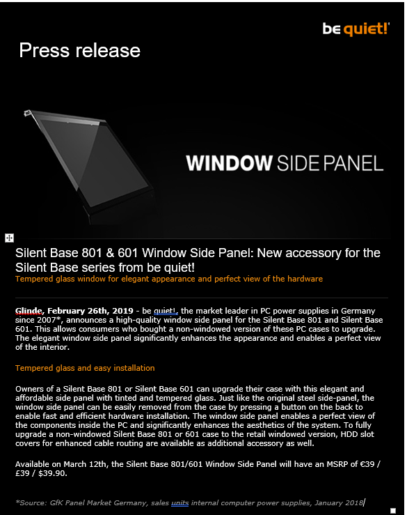 be quiet announces the Silent Base 801 & 601 Window Side Panel: New accessory for the Silent Base series! be quiet press release