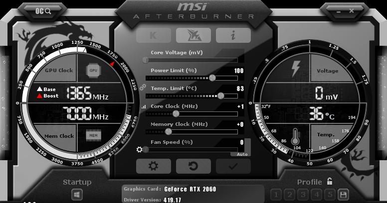 Gigabyte RTX 2060 Gaming OC 6G AfterburnerStock