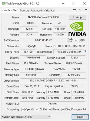 Gigabyte RTX 2060 Gaming OC 6G GPUz