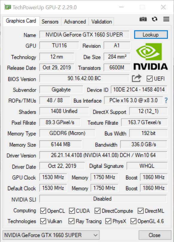 Gigabyte 1660 Super Gaming OC 6g