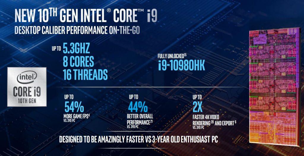 intel 10th gen mobile processors i9 PERFORMANCE
