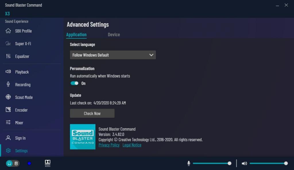 sound blaster command settings