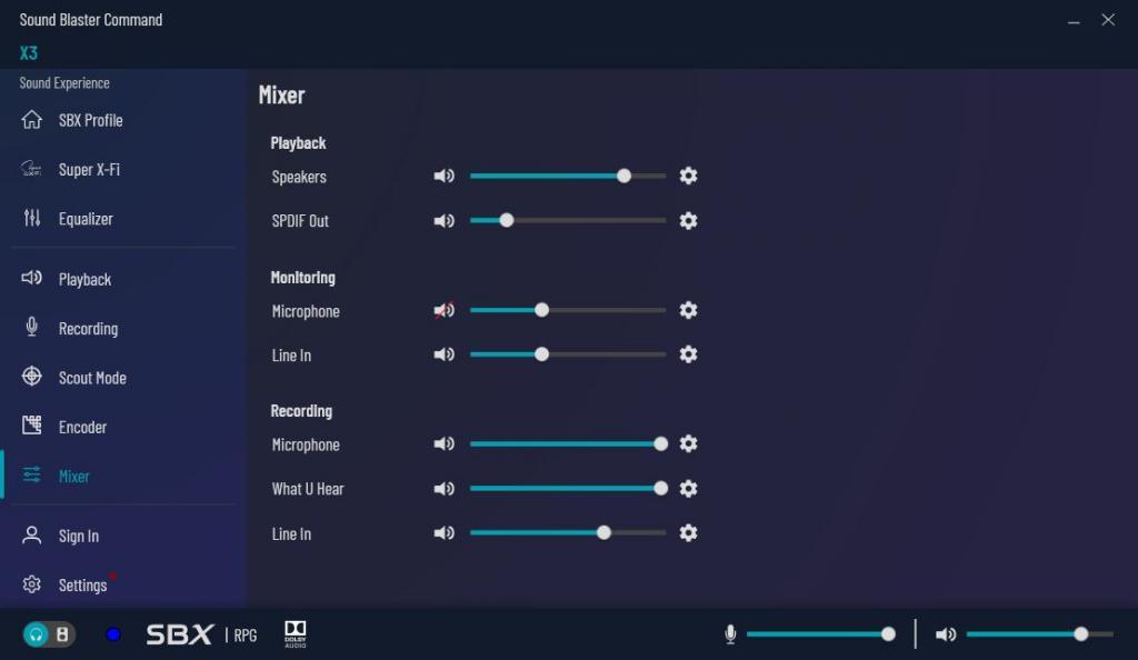 sound blaster command mixer SB X3