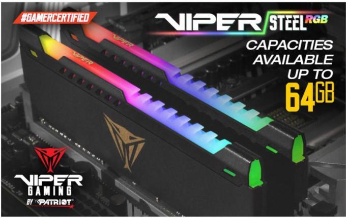 VIPER GAMING Release High Capacity VIPER STEEL RGB Memory Modules and Kits ddr4, Memory, Patriot Viper 2