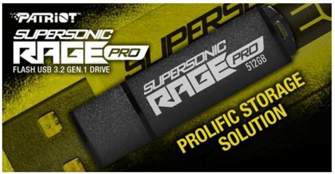 Patriot New Supersonic Rage Pro USB 3.2 Gen.1 Flash Drive 3.2 USB, Patriot, thumb drive 1