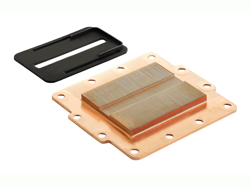 The cold plate base is made of copper and the surface is rough with  #AA6621